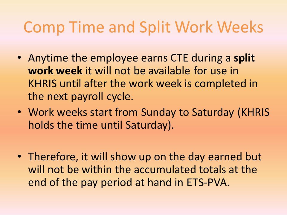 Comp Time Earned (CTE) & Used (CTU) Any full-time employee that works over 37.50 hours is eligible to accrue up to 2.50 hours of Comp Time (CTE).