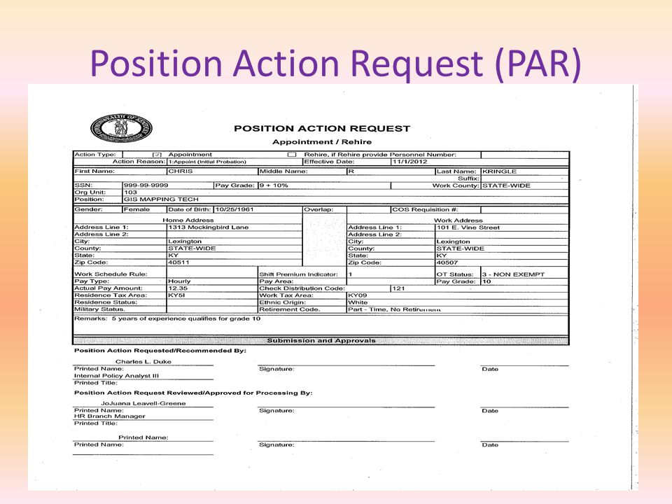 REQUEST FOR PERSONNEL ACTION (RPA)