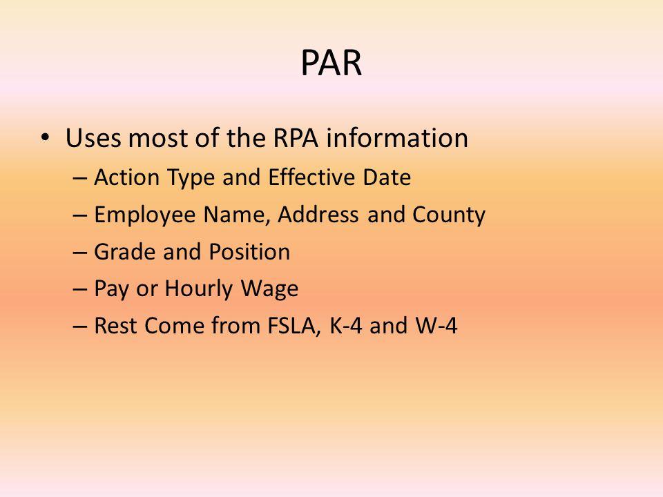 Position Action Request (PAR)