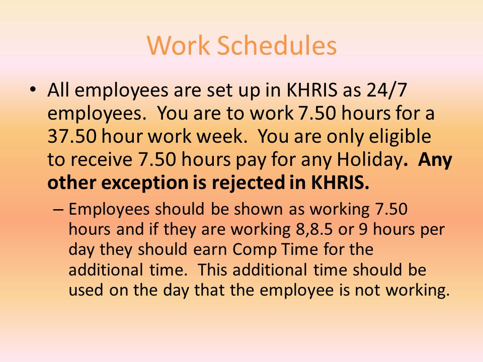 COMMON PROBLEMS WORK SCHEDULES FLEX SCHEDULES HOLIDAYS SCHEDULES COMP TIME EARNED & USED SPLIT WEEKS PART TIME EMPLOYEES MISC LEAVE – VOTE – BLOOD – ELECTION LEAVE – COURT AND JURY DUTY – ADVERSE WEATHER (AWL)