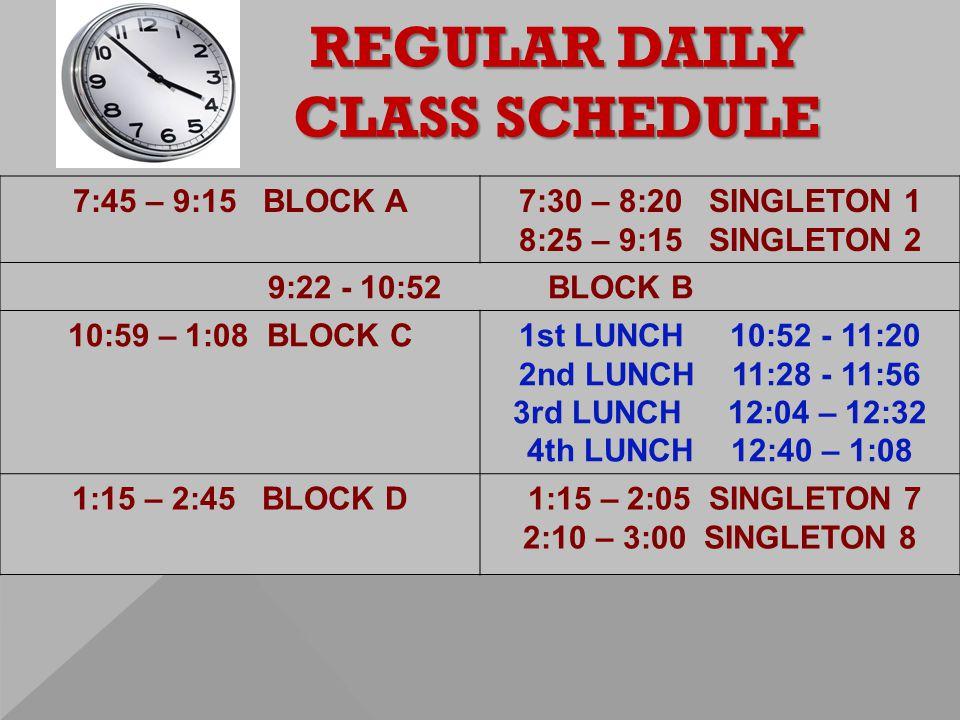 REGULAR DAILY CLASS SCHEDULE 7:45 – 9:15 BLOCK A7:30 – 8:20 SINGLETON 1 8:25 – 9:15 SINGLETON 2 9:22 - 10:52 BLOCK B 10:59 – 1:08 BLOCK C1st LUNCH 10:52 - 11:20 2nd LUNCH 11:28 - 11:56 3rd LUNCH 12:04 – 12:32 4th LUNCH 12:40 – 1:08 1:15 – 2:45 BLOCK D 1:15 – 2:05 SINGLETON 7 2:10 – 3:00 SINGLETON 8