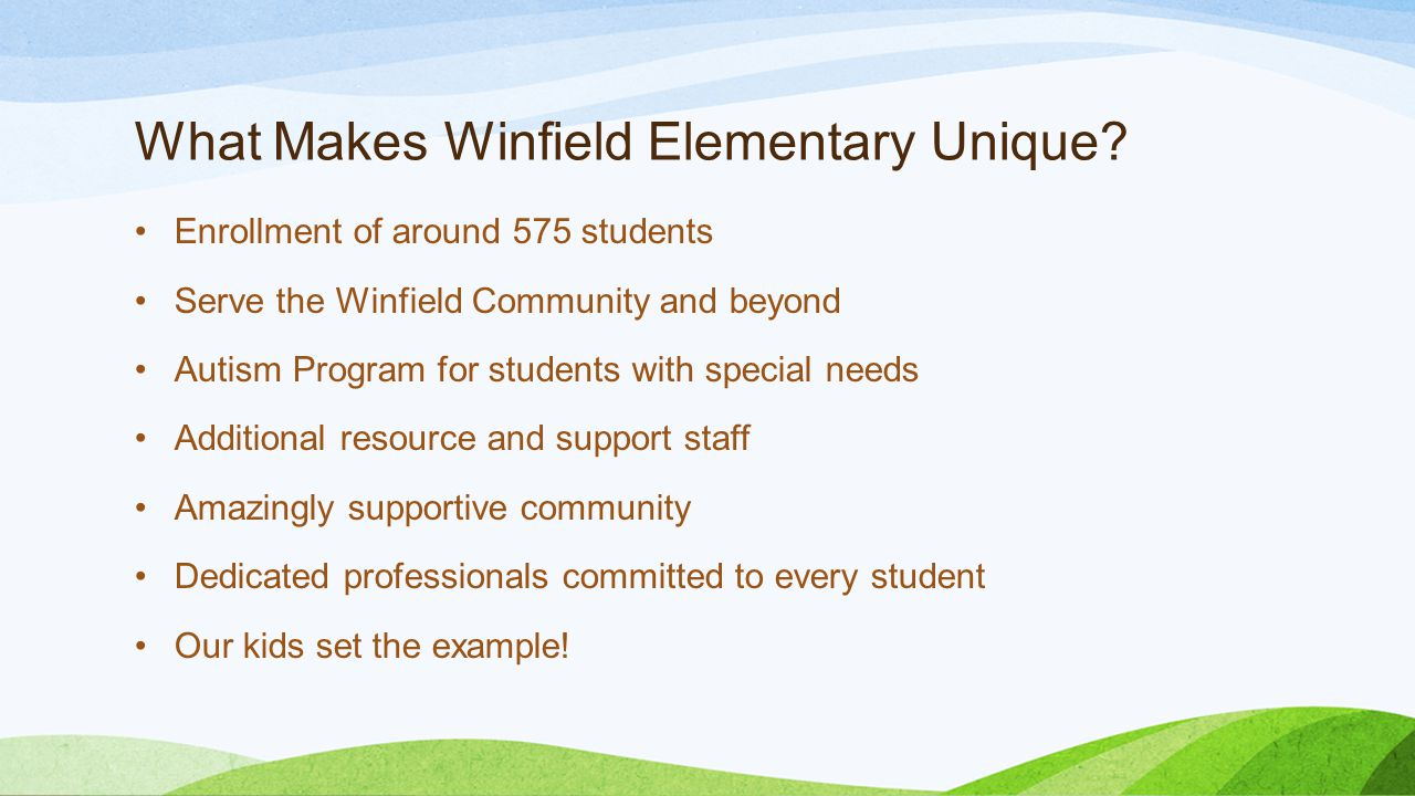 What Makes Winfield Elementary Unique.