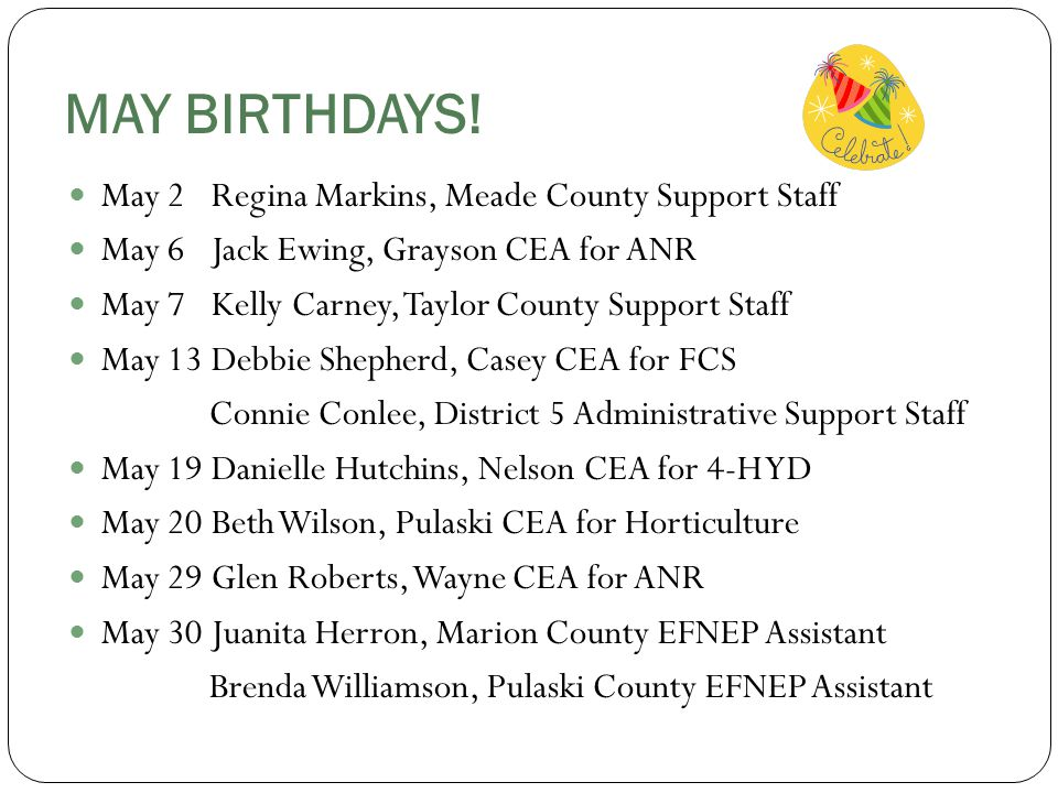 MAY BIRTHDAYS.