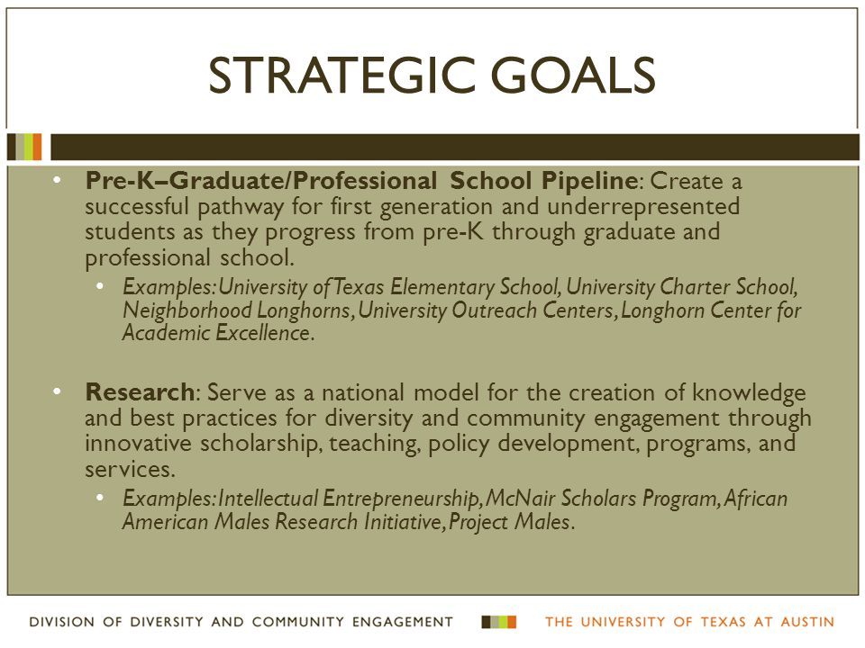 STRATEGIC GOALS Pre-K–Graduate/Professional School Pipeline: Create a successful pathway for first generation and underrepresented students as they pr