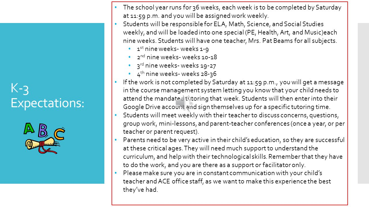 K-3 Expectations: The school year runs for 36 weeks, each week is to be completed by Saturday at 11:59 p.m.