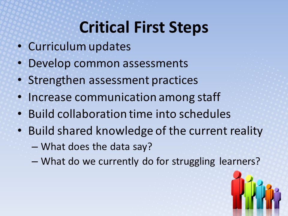 Critical First Steps Curriculum updates Develop common assessments Strengthen assessment practices Increase communication among staff Build collaboration time into schedules Build shared knowledge of the current reality – What does the data say.