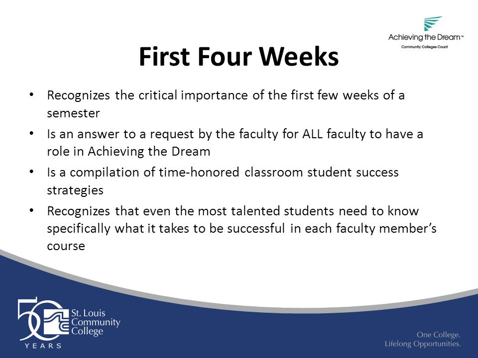 First Four Weeks Recognizes the critical importance of the first few weeks of a semester Is an answer to a request by the faculty for ALL faculty to have a role in Achieving the Dream Is a compilation of time-honored classroom student success strategies Recognizes that even the most talented students need to know specifically what it takes to be successful in each faculty member's course