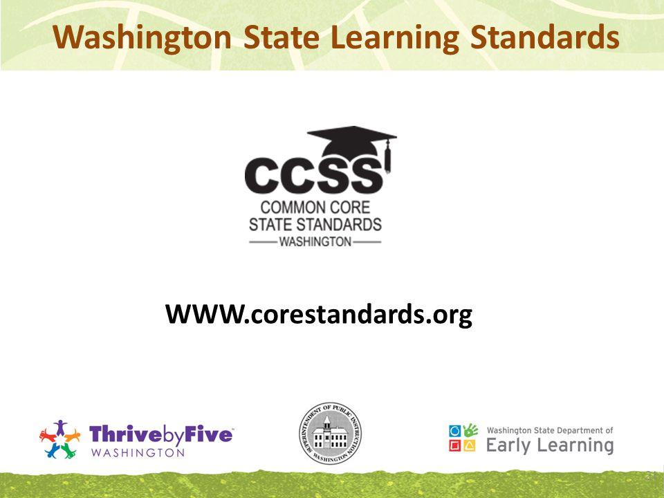 Washington State Learning Standards WWW.corestandards.org 21