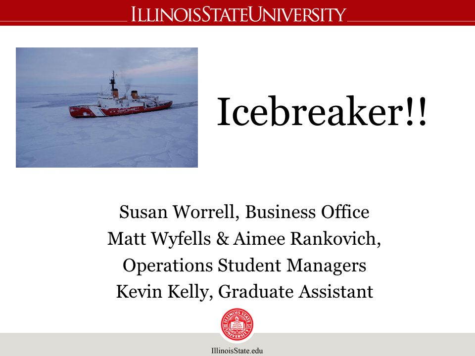 Icebreaker!! Susan Worrell, Business Office Matt Wyfells & Aimee Rankovich, Operations Student Managers Kevin Kelly, Graduate Assistant