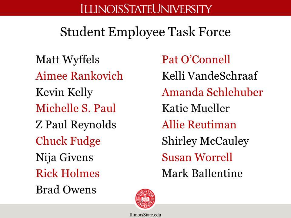 Student Employee Task Force Matt Wyffels Aimee Rankovich Kevin Kelly Michelle S.
