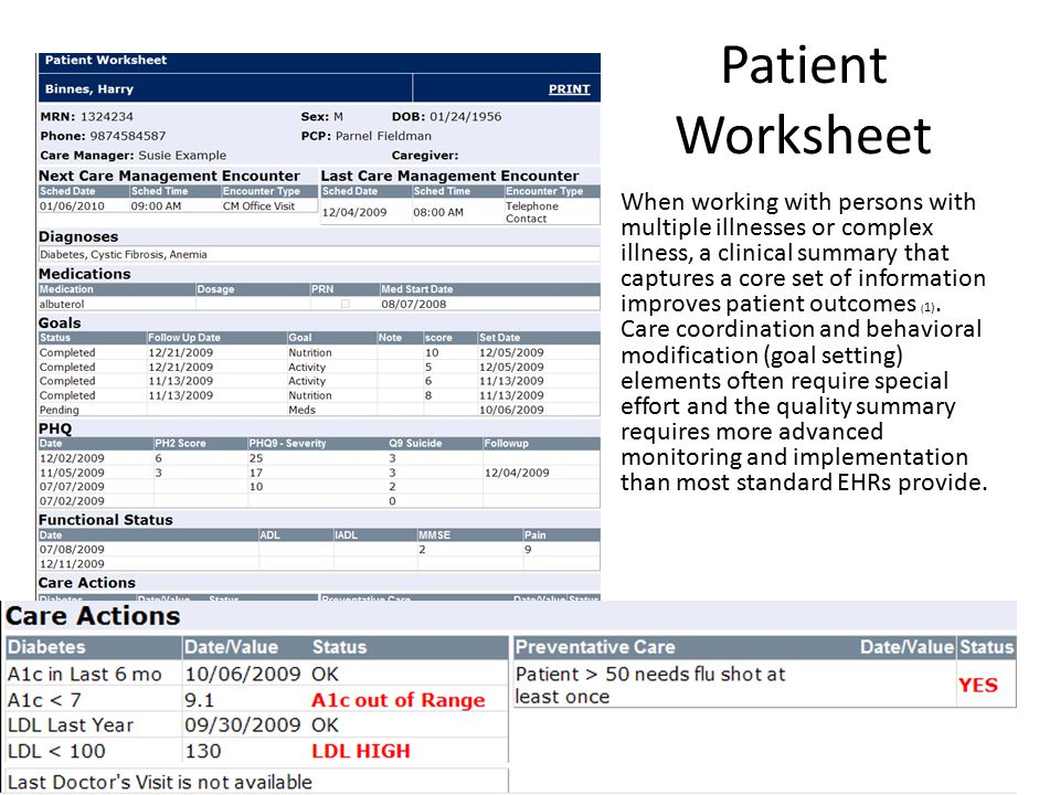 (1) Wilcox, Proc of AMIA Symp, 2005 Patient Worksheet When working with persons with multiple illnesses or complex illness, a clinical summary that captures a core set of information improves patient outcomes ( 1).