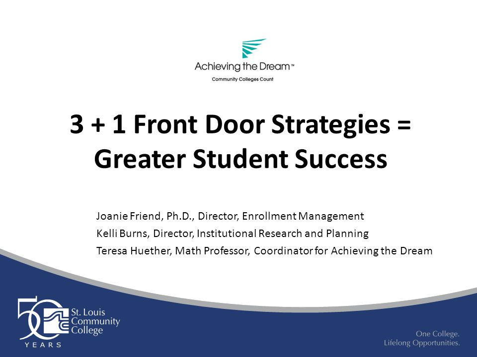 3 + 1 Front Door Strategies = Greater Student Success Joanie Friend, Ph.D., Director, Enrollment Management Kelli Burns, Director, Institutional Research and Planning Teresa Huether, Math Professor, Coordinator for Achieving the Dream