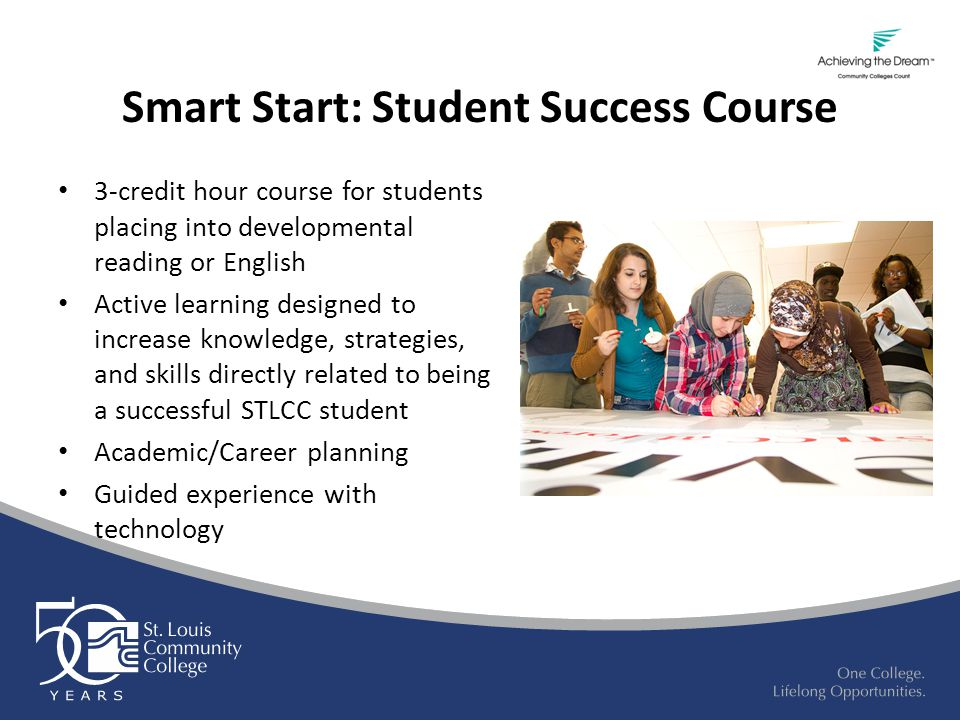 Smart Start: Student Success Course 3-credit hour course for students placing into developmental reading or English Active learning designed to increa