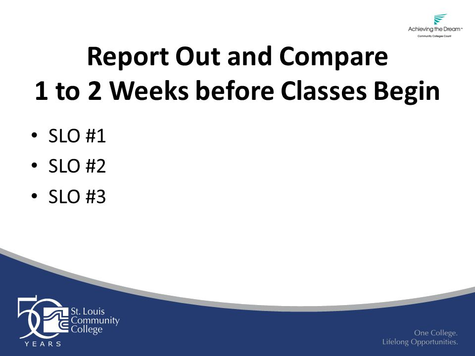 Report Out and Compare 1 to 2 Weeks before Classes Begin SLO #1 SLO #2 SLO #3