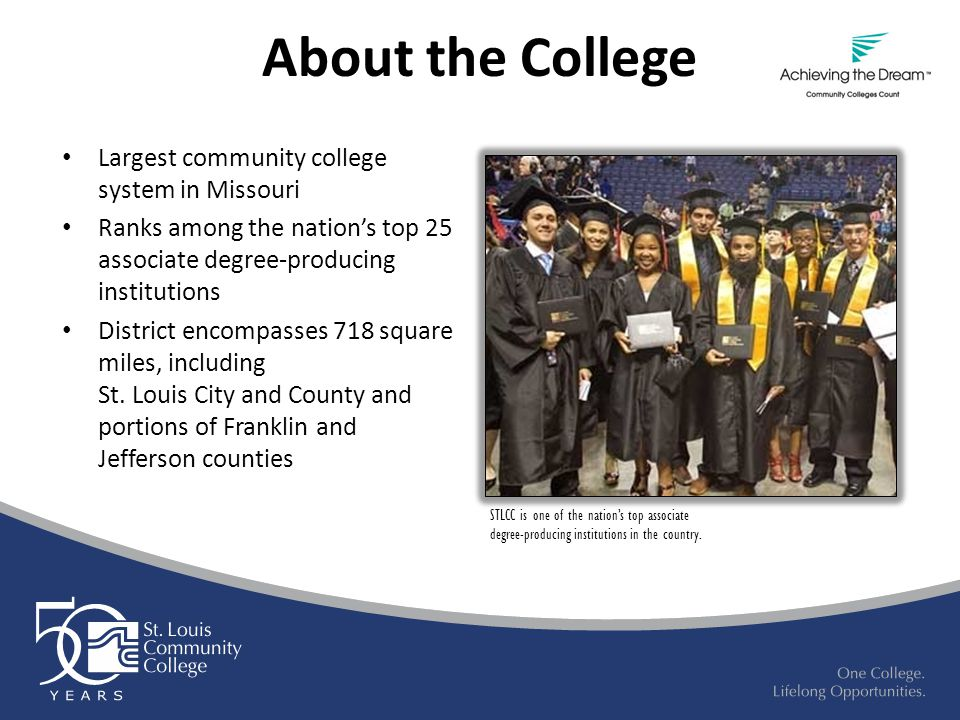 About the College Largest community college system in Missouri Ranks among the nation's top 25 associate degree-producing institutions District encompasses 718 square miles, including St.