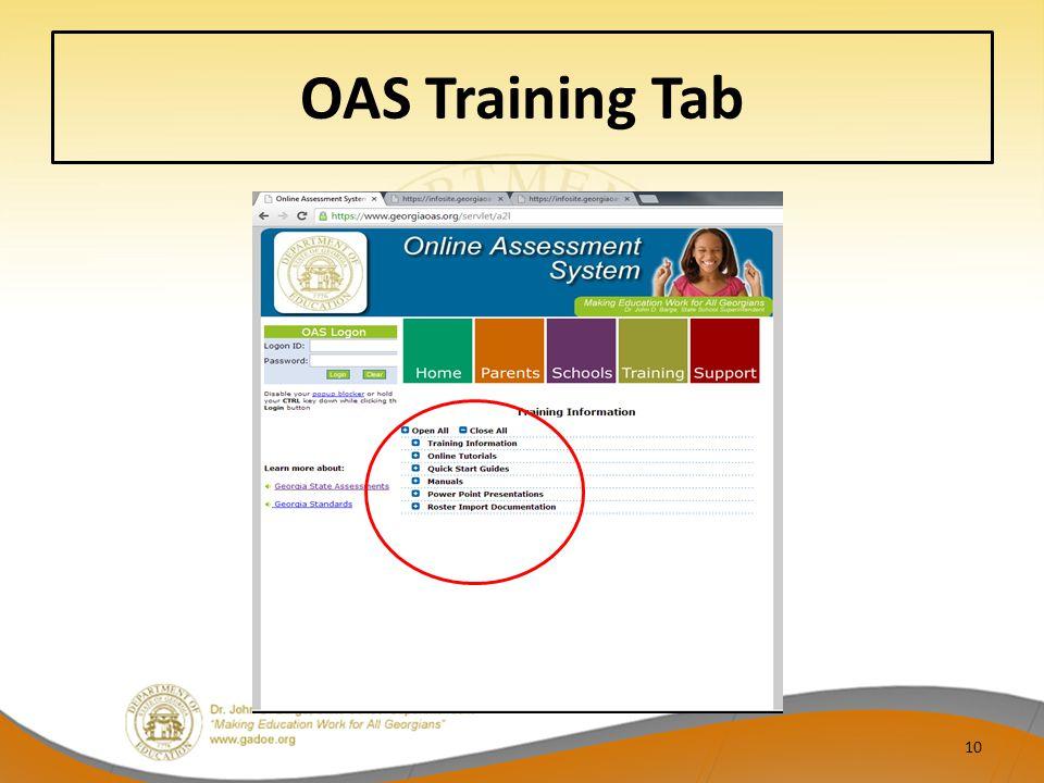 OAS Training Tab 10