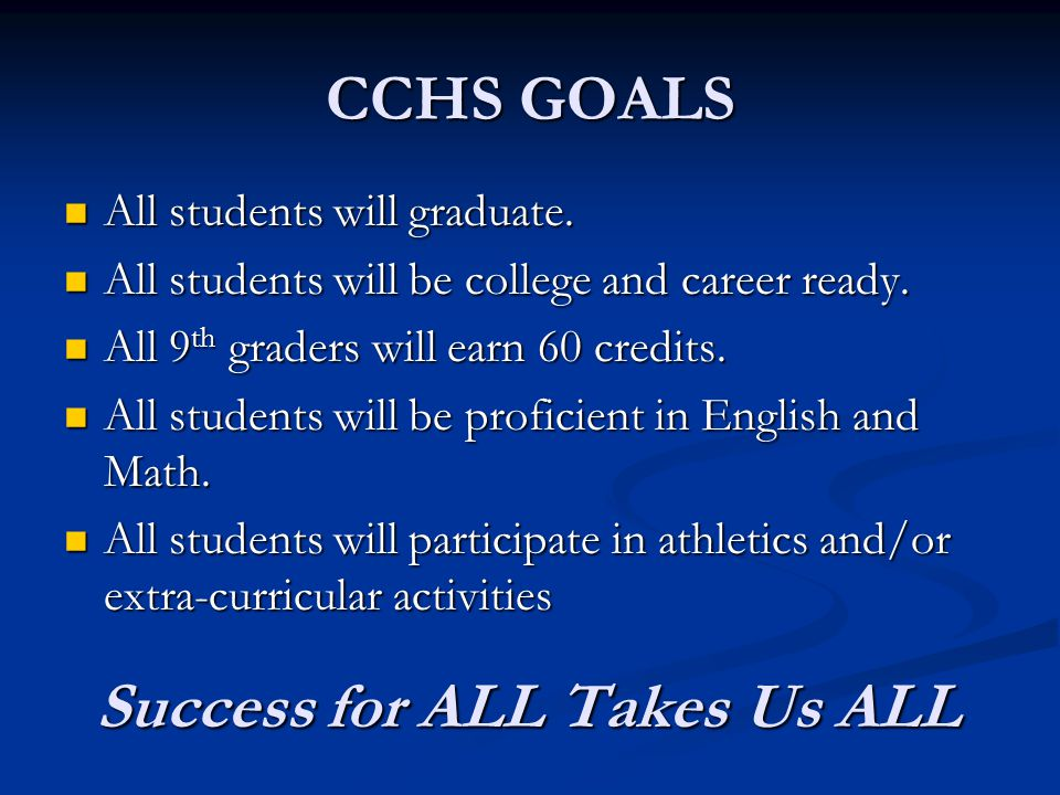 CCHS GOALS All students will graduate. All students will graduate.