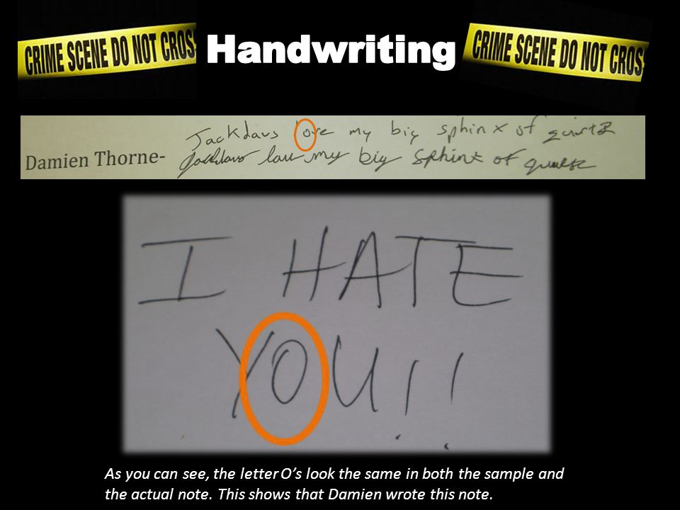 Here are the handwriting samples from each suspect.