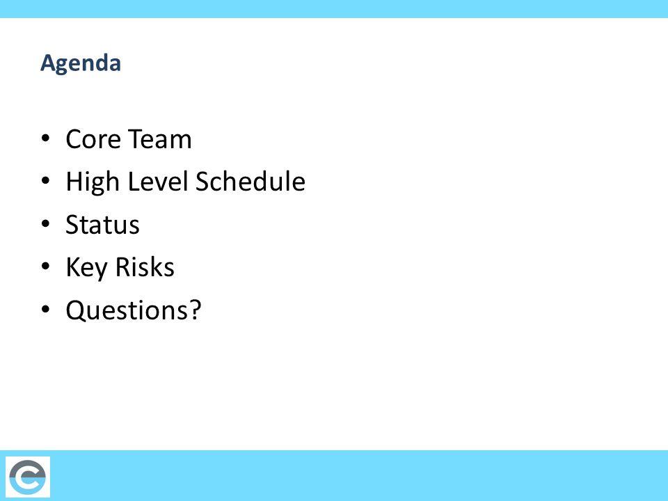 Agenda Core Team High Level Schedule Status Key Risks Questions