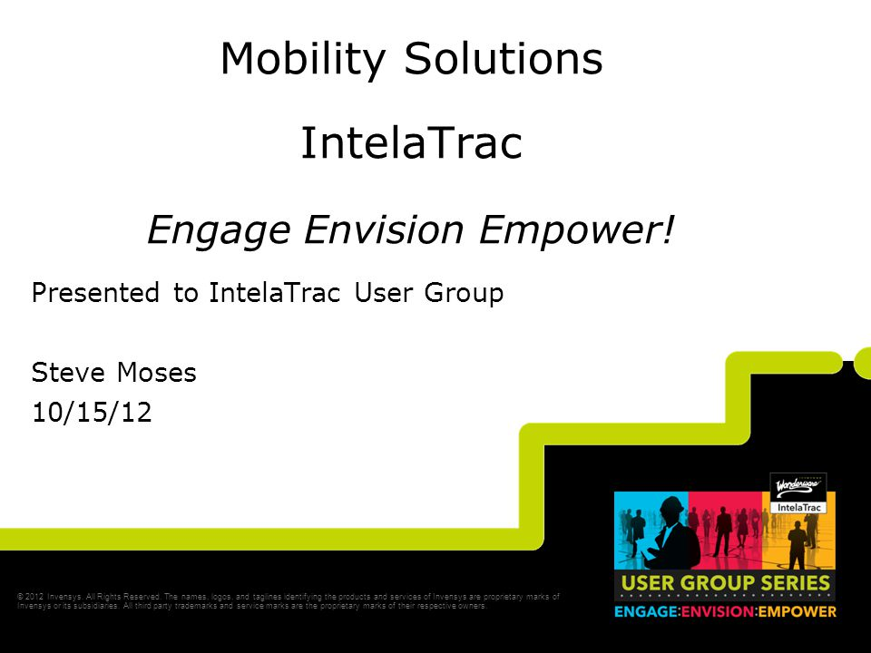Slide 3 Opening Agenda Welcome to the Mobile Solutions Track of User Group 2012 Safety Minute Introductions & Opening Remarks Version 4.2 SP1 Industrial Mobility –Look back –Look ahead Session Review –The line-up What's New in IntelaTrac Software.