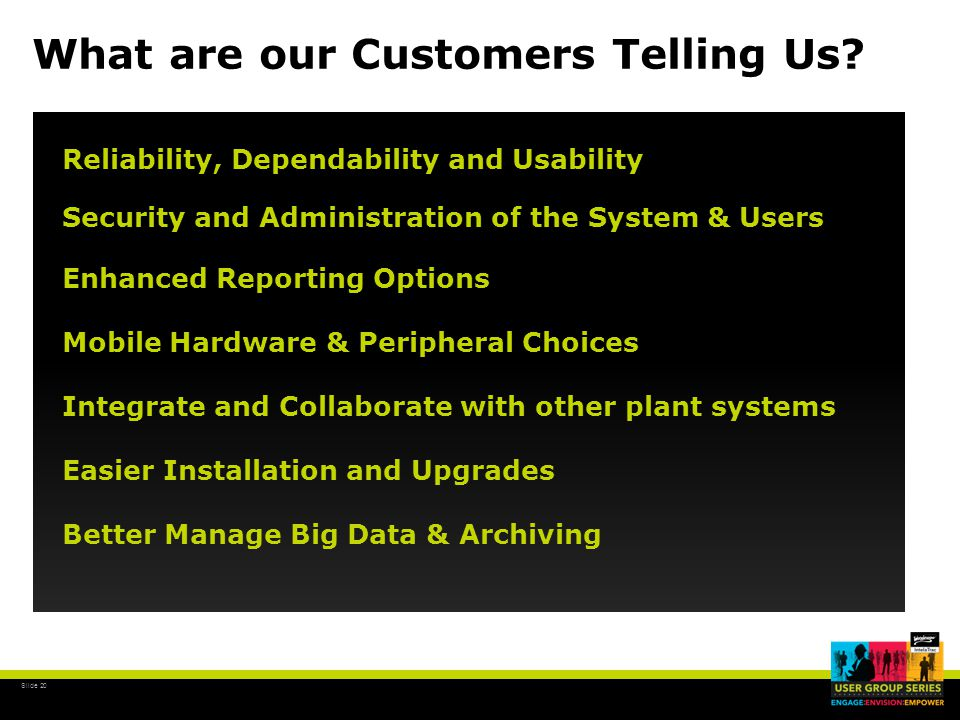 Slide 20 What are our Customers Telling Us.