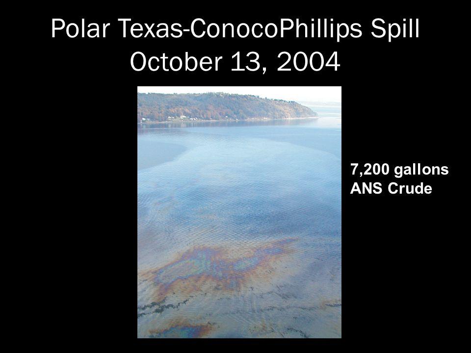 Polar Texas-ConocoPhillips Spill October 13, 2004 7,200 gallons ANS Crude