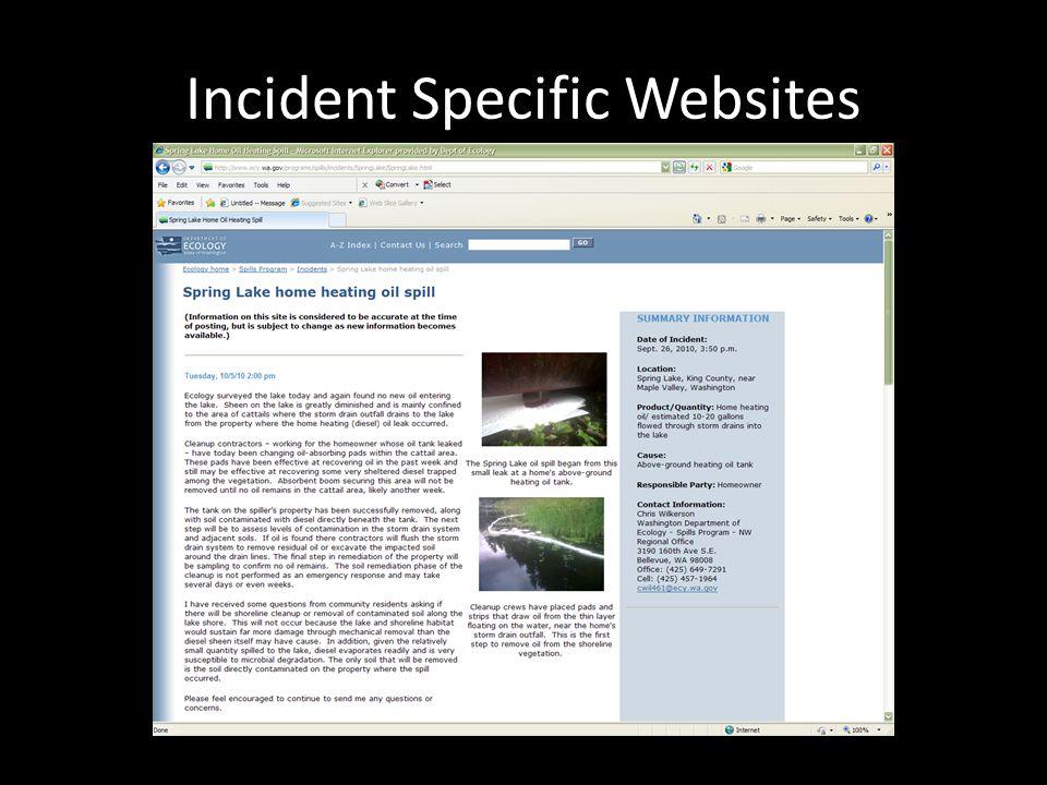 Incident Specific Websites