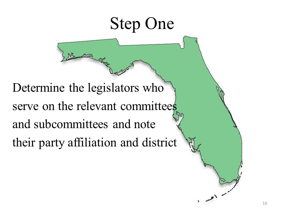 Step One Determine the legislators who serve on the relevant committees and subcommittees and note their party affiliation and district 16