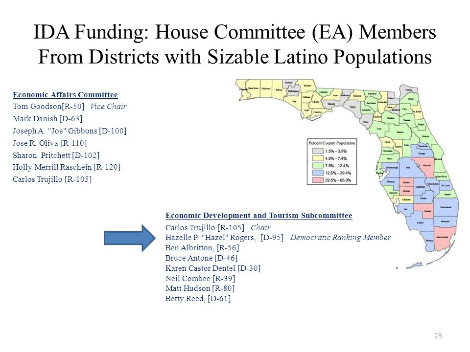 IDA Funding: House Committee (EA) Members From Districts with Sizable Latino Populations Economic Affairs Committee Tom Goodson[R-50] Vice Chair Mark Danish [D-63] Joseph A.