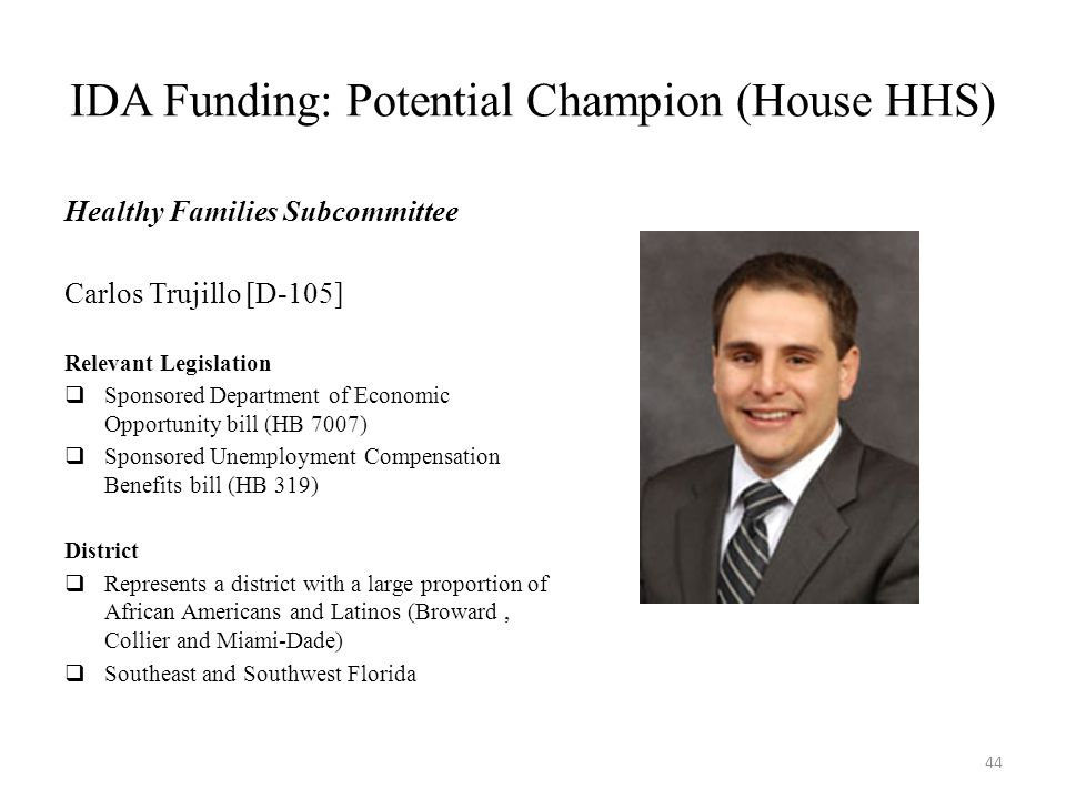 IDA Funding: Potential Champion (House HHS) Healthy Families Subcommittee Carlos Trujillo [D-105] Relevant Legislation  Sponsored Department of Economic Opportunity bill (HB 7007)  Sponsored Unemployment Compensation Benefits bill (HB 319) District  Represents a district with a large proportion of African Americans and Latinos (Broward, Collier and Miami-Dade)  Southeast and Southwest Florida 44