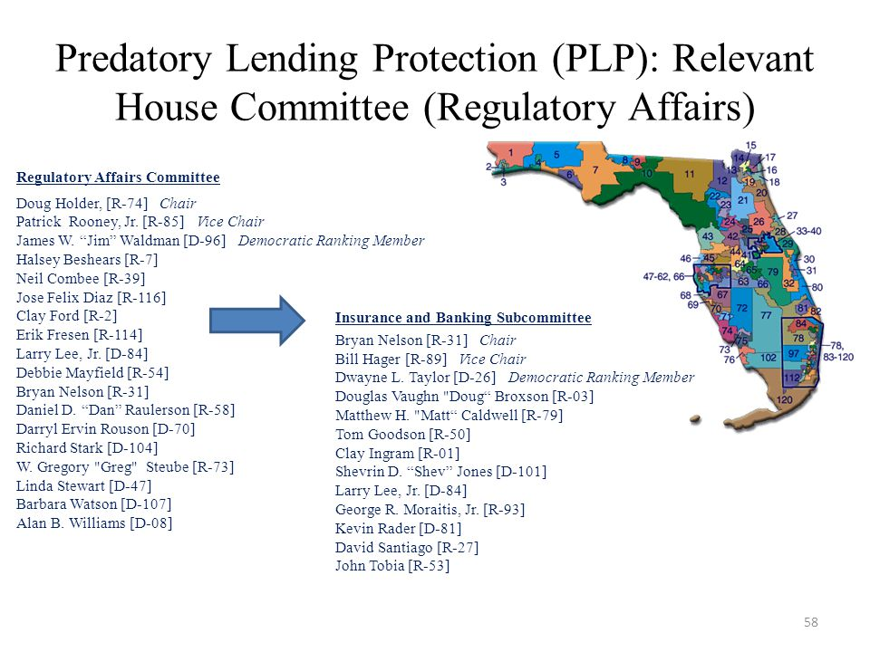 Predatory Lending Protection (PLP): Relevant House Committee (Regulatory Affairs) Regulatory Affairs Committee Doug Holder, [R-74] Chair Patrick Rooney, Jr.