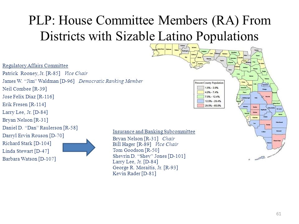PLP: House Committee Members (RA) From Districts with Sizable Latino Populations Regulatory Affairs Committee Patrick Rooney, Jr.