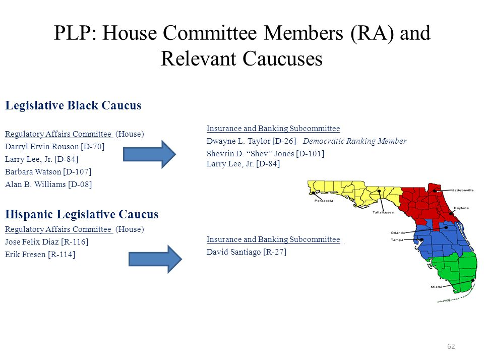 PLP: House Committee Members (RA) and Relevant Caucuses Legislative Black Caucus Regulatory Affairs Committee (House) Darryl Ervin Rouson [D-70] Larry Lee, Jr.