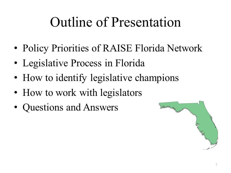 Policy Priorities of RAISE Florida Network IDA (Individual Development Account) funding Foreclosure abatement – predatory lending protection – Homeowner Bill of Rights Microenterprise development Financial Security 8
