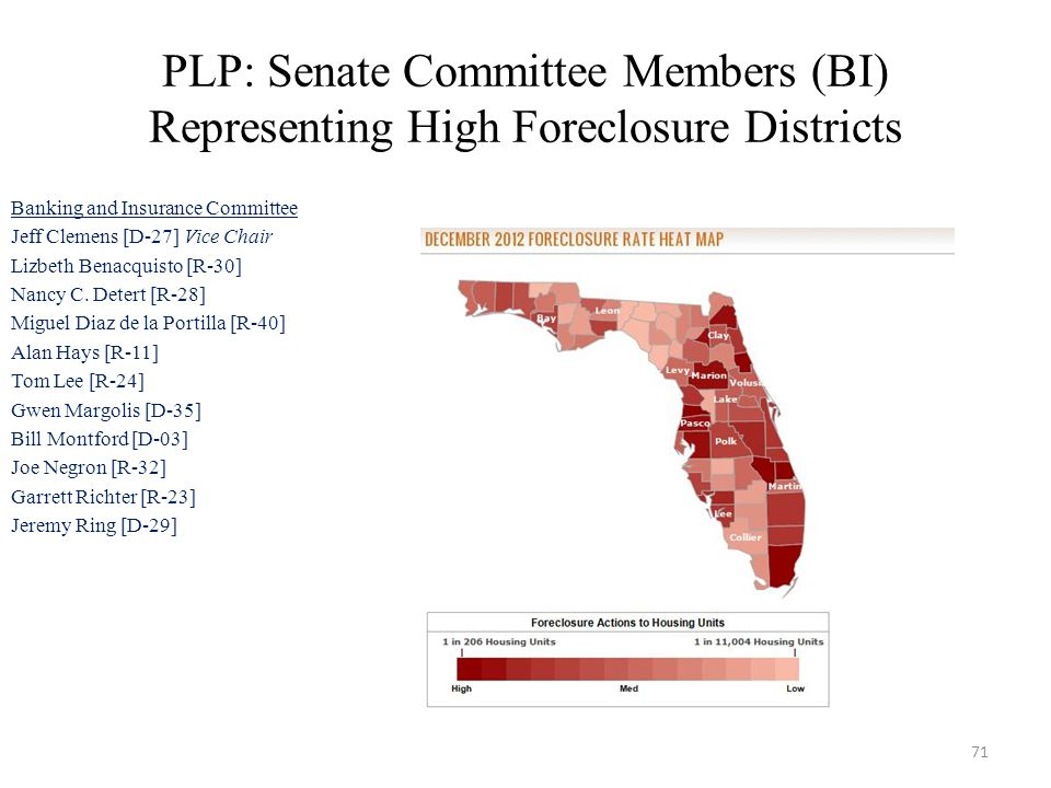 PLP: Senate Committee Members (BI) Representing High Foreclosure Districts Banking and Insurance Committee Jeff Clemens [D-27] Vice Chair Lizbeth Benacquisto [R-30] Nancy C.