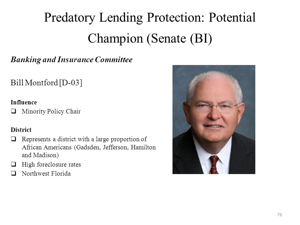 Predatory Lending Protection: Potential Champion (Senate (BI) Banking and Insurance Committee Bill Montford [D-03] Influence  Minority Policy Chair District  Represents a district with a large proportion of African Americans (Gadsden, Jefferson, Hamilton and Madison)  High foreclosure rates  Northwest Florida 76