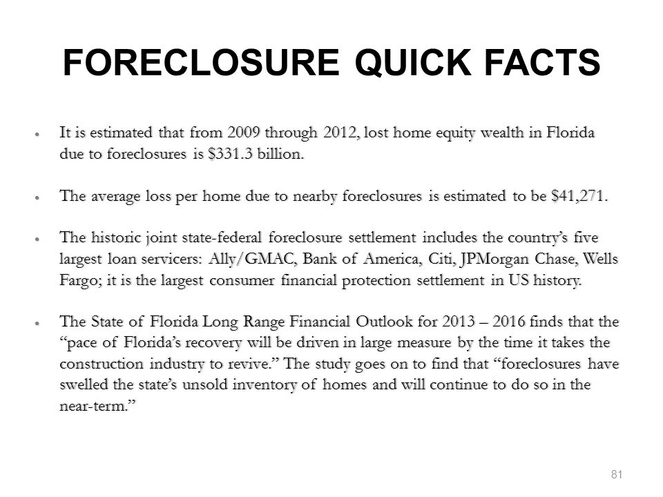 FORECLOSURE QUICK FACTS  It is estimated that from 2009 through 2012, lost home equity wealth in Florida due to foreclosures is $331.3 billion.