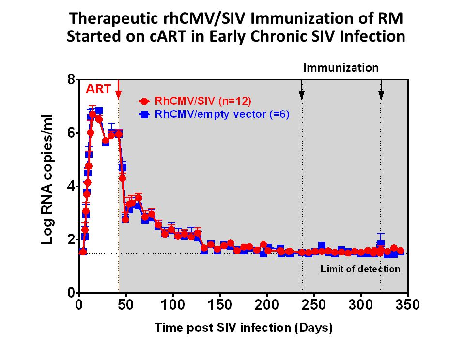 Immunization Therapeutic rhCMV/SIV Immunization of RM Started on cART in Early Chronic SIV Infection