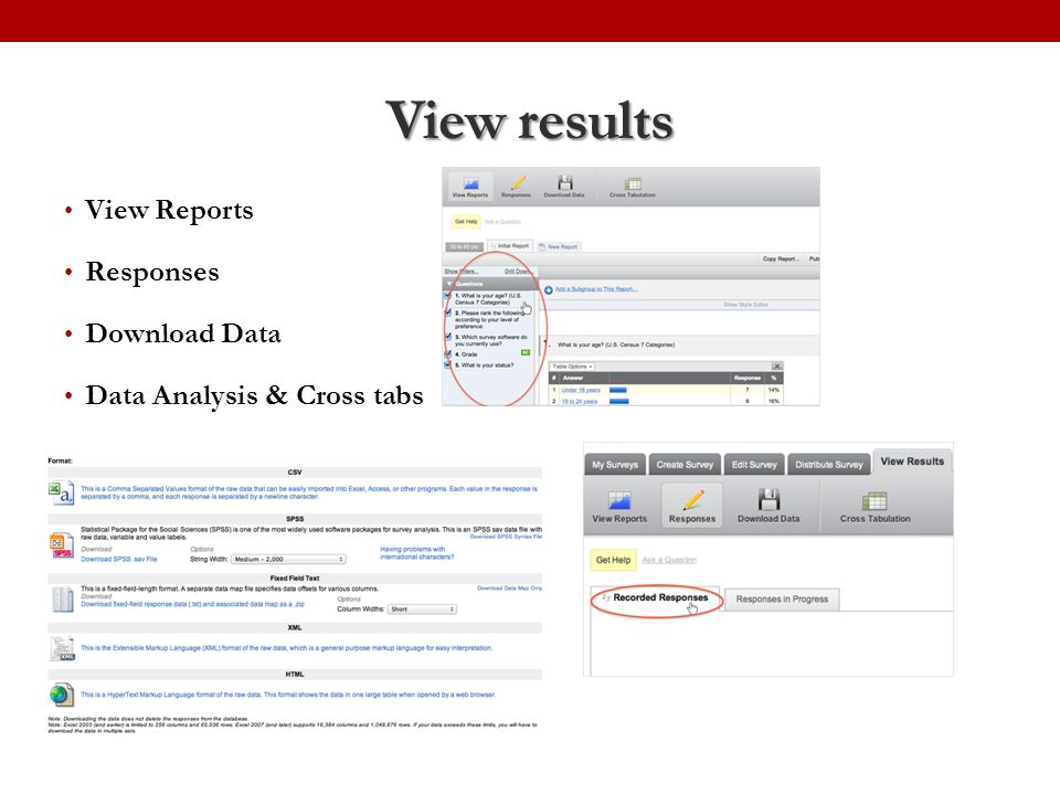 View results View Reports Responses Download Data Data Analysis & Cross tabs
