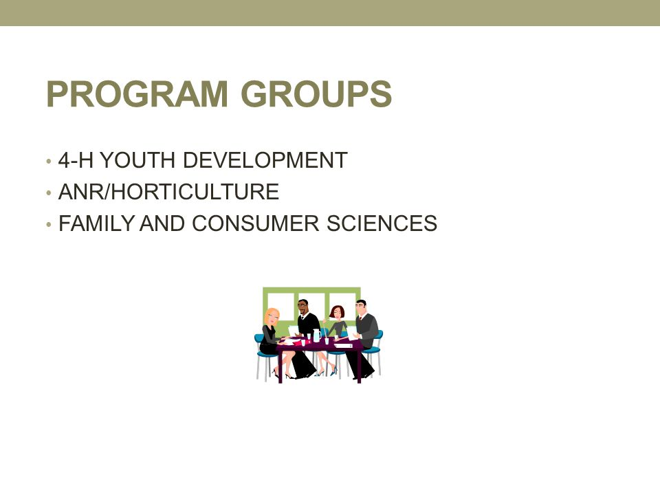PROGRAM GROUPS 4-H YOUTH DEVELOPMENT ANR/HORTICULTURE FAMILY AND CONSUMER SCIENCES