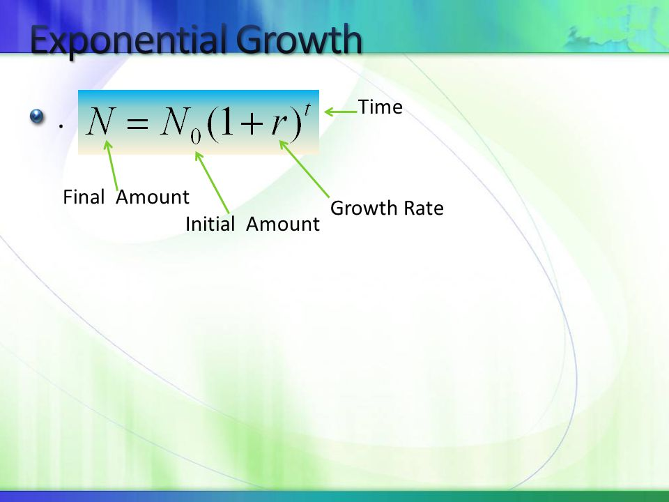 . Initial Amount Final Amount Growth Rate Time