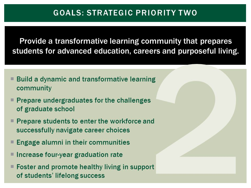 2 GOALS: STRATEGIC PRIORITY TWO  Build a dynamic and transformative learning community  Prepare undergraduates for the challenges of graduate school  Prepare students to enter the workforce and successfully navigate career choices  Engage alumni in their communities  Increase four-year graduation rate  Foster and promote healthy living in support of students' lifelong success Provide a transformative learning community that prepares students for advanced education, careers and purposeful living.