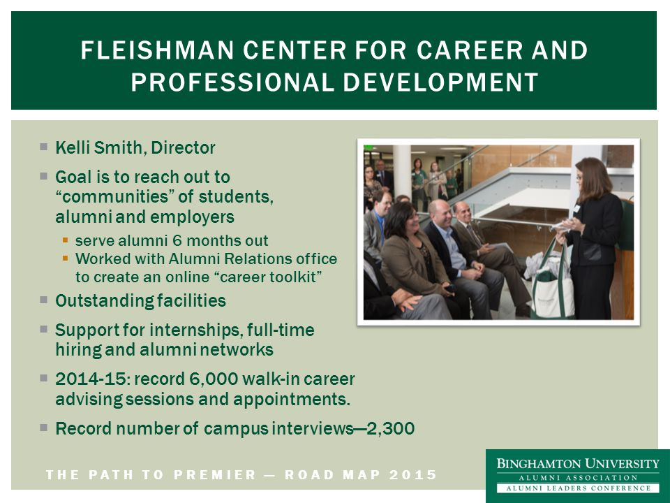 THE PATH TO PREMIER — ROAD MAP 2015 FLEISHMAN CENTER FOR CAREER AND PROFESSIONAL DEVELOPMENT  Kelli Smith, Director  Goal is to reach out to communities of students, alumni and employers  serve alumni 6 months out  Worked with Alumni Relations office to create an online career toolkit  Outstanding facilities  Support for internships, full-time hiring and alumni networks  2014-15: record 6,000 walk-in career advising sessions and appointments.