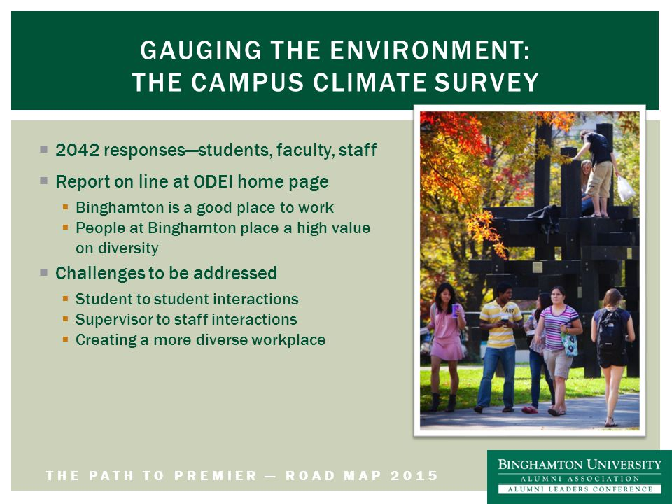 THE PATH TO PREMIER — ROAD MAP 2015 GAUGING THE ENVIRONMENT: THE CAMPUS CLIMATE SURVEY  2042 responses—students, faculty, staff  Report on line at ODEI home page  Binghamton is a good place to work  People at Binghamton place a high value on diversity  Challenges to be addressed  Student to student interactions  Supervisor to staff interactions  Creating a more diverse workplace