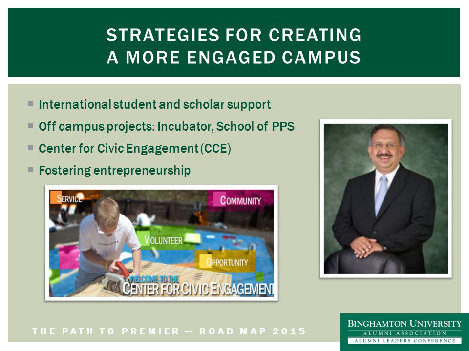 THE PATH TO PREMIER — ROAD MAP 2015 STRATEGIES FOR CREATING A MORE ENGAGED CAMPUS  International student and scholar support  Off campus projects: Incubator, School of PPS  Center for Civic Engagement (CCE)  Fostering entrepreneurship