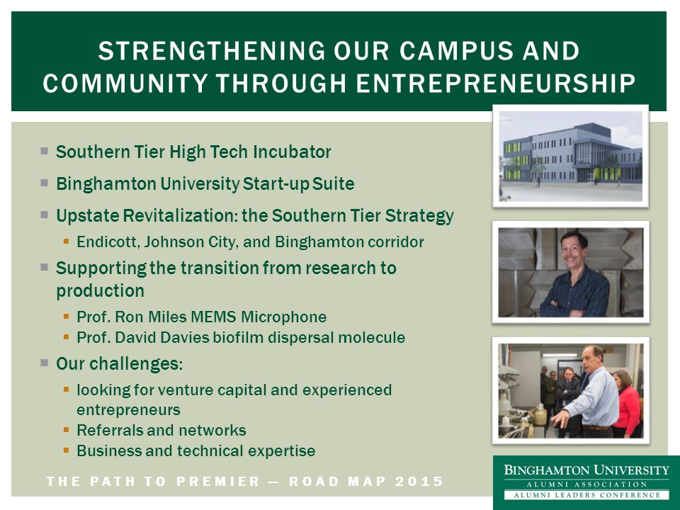 THE PATH TO PREMIER — ROAD MAP 2015 STRENGTHENING OUR CAMPUS AND COMMUNITY THROUGH ENTREPRENEURSHIP  Southern Tier High Tech Incubator  Binghamton University Start-up Suite  Upstate Revitalization: the Southern Tier Strategy  Endicott, Johnson City, and Binghamton corridor  Supporting the transition from research to production  Prof.