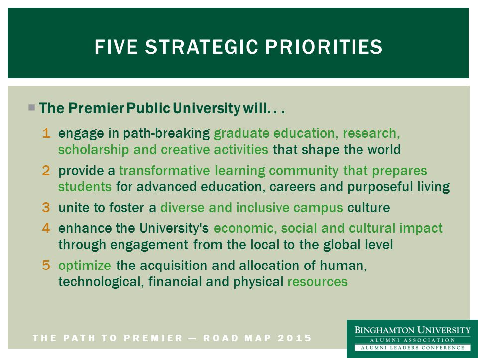 THE PATH TO PREMIER — ROAD MAP 2015 FIVE STRATEGIC PRIORITIES  The Premier Public University will...