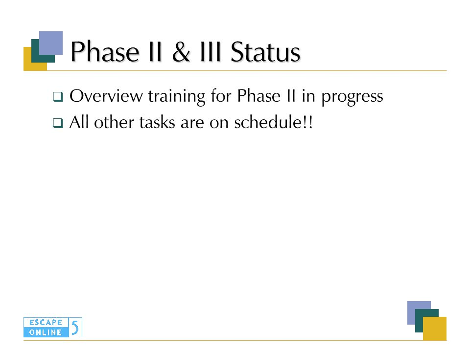 Phase II & III Status  Overview training for Phase II in progress  All other tasks are on schedule!!