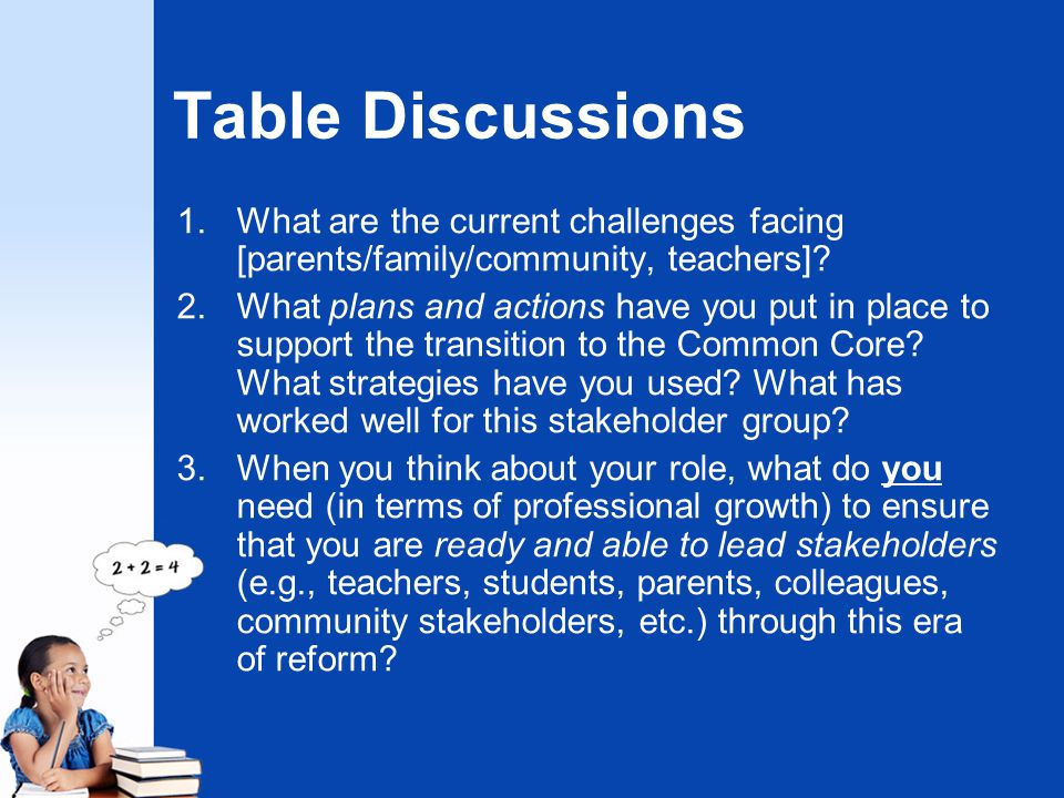 Table Discussions 1.What are the current challenges facing [parents/family/community, teachers]? 2.What plans and actions have you put in place to sup