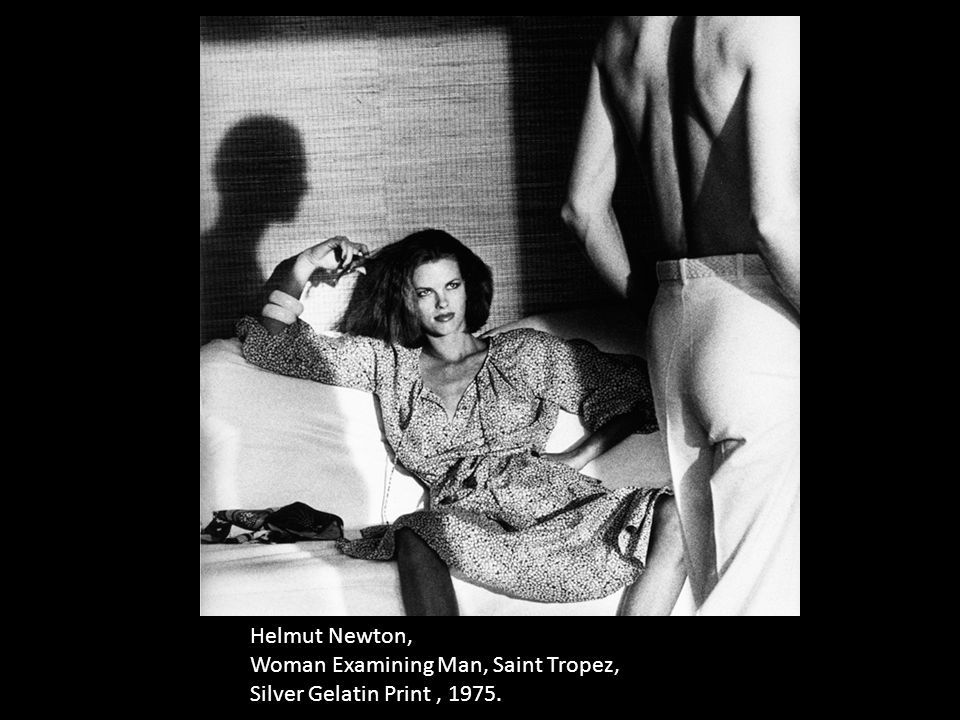 Helmut Newton, Woman Examining Man, Saint Tropez, Silver Gelatin Print, 1975.